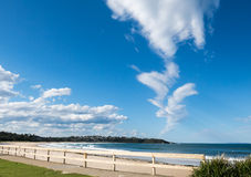 Abstract cloud. Abstract wispy Jeanie cloud in blue sky above Mollymook Beach, Australia Royalty Free Stock Images