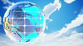 Abstract clouds background with the rotation of the glass of the globe. Loopable stock video footage
