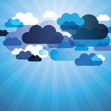 Abstract Clouds Background Vector. Cloudy Skies in The Sunrays - Blue Abstract Background Design in Editable Vector Format Stock Images