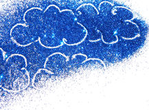 Abstract clouds of blue glitter on white background with place for your text Stock Images