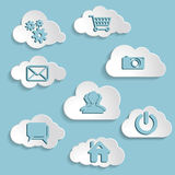 Abstract clouds collection with social networks icons on a blue Stock Images