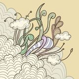 Abstract clouds with floral design elements Royalty Free Stock Images
