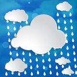 Abstract clouds with rain drops. On a deep blue background vector illustration