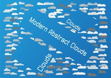 Abstract clouds white text space isolated on blue background. Digital art design Royalty Free Stock Photography