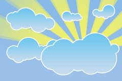 Abstract cloudscape with sun rays illustration Royalty Free Stock Photos