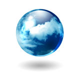 Abstract cloudy sphere. Glossy sphere with clouds and blue sky, on white background. Environmental graphic Royalty Free Stock Photography