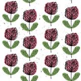 Abstract clover. Vector seamless pattern with flowers. Flower background. Hand-drawn style. Scandinavian motives. Vector seamless pattern with flowers. Flower vector illustration