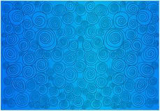 Abstract cluster of spirals on a blue background. Objects have a different shape and are drawn in a cartoon style royalty free stock images