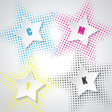 Abstract cmyk background with 3d stars. And star halftones Stock Photo