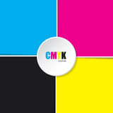 Abstract cmyk background with white stripes. And 3d button in middle Royalty Free Stock Images