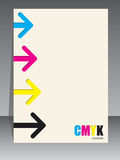 Abstract cmyk brochure with arrows. Abstract cmyk brochure design with arrow elements Royalty Free Illustration