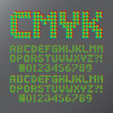 Abstract CMYK Colorful Font and Numbers. Eps 10 Vector, Editable for any Background, No Clipping Mask Royalty Free Stock Image