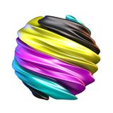 Abstract CMYK colors sphere 3D render. Illustration isolated on white background Royalty Free Stock Photos