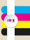 Abstract cmyk stripes background. With 3d button Stock Photos