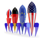 Abstract coalition. Rockets with flags of the European Union, the USA, Germany, England Stock Photo