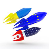 Abstract coalition. Rockets with flags of the European Union, the USA, Ukraine stock illustration