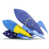 Abstract coalition. Rockets with flags of the European Union, the USA, Ukraine Stock Photography