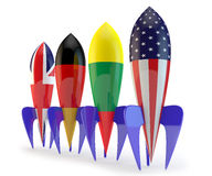 Abstract coalition. Rockets with flags of the Lithuania, the USA, Germany, England stock illustration