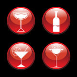 Abstract cocktail icons Stock Images