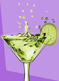 Abstract cocktail and lime Royalty Free Stock Photos