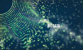 Abstract coding process. Big data futuristic infographic. Colorful particle grid with bokeh Royalty Free Stock Photo
