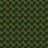Abstract coffee beans pattern green background. Abstract coffee beans pattern green brown background. Vector illustration Stock Illustration