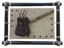 Abstract coffee beans pot concept over burlap canvas background Royalty Free Stock Photos
