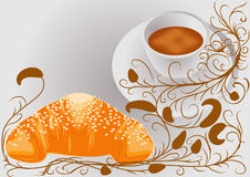 Abstract coffee and croissants Stock Photo