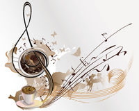 Abstract coffee music with cups of coffee. Abstract coffee music with cups of coffee, splashes, butterflies, notes Royalty Free Stock Photo