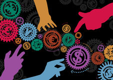 Money Cogs and Hands royalty free illustration