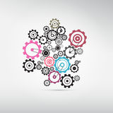 Abstract Cogs - Gears. Isolated on Grey Background Stock Photos