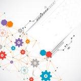 Abstract cogwheel technology net background. Stock Photo