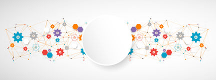 Abstract cogwheel technology net background. Royalty Free Stock Photography