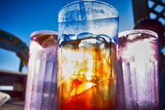 Abstract Cold Iced Tea In Summer Sun Stock Image