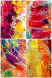 Abstract collage. Colorful painted canvas abstracts collage Stock Photography