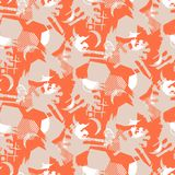 Abstract collage calm pattern seamless texture vector. Fabric repeat print in coral red and beige color tones Royalty Free Stock Photos