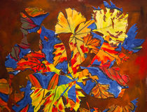 Abstract collage painting of autumn, fall leaves Royalty Free Stock Photos