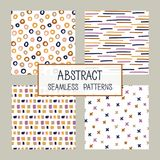 Abstract collage seamless patterns set. Vector background. Colorful hand drawn template. Good for fabric design royalty free illustration
