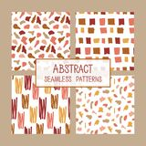Abstract collage seamless patterns set. Vector background. Colorful hand drawn template. Good for fabric design. Terrazzo style royalty free illustration