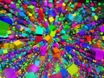 Abstract color background. Abstract color cube fly background Royalty Free Stock Images
