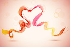 Abstract  color background with heart and wave. Illustration Stock Image