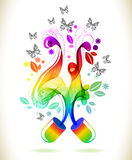 Abstract color background with wave and butterflies Stock Images