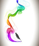 Abstract color background with wave and feather pen. Illustration Stock Photo