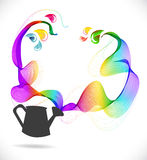 Abstract color background with wave and watering can Stock Image
