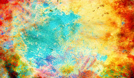 Abstract color Backgrounds, painting collage with. Spots, rust structure and flower Stock Photos