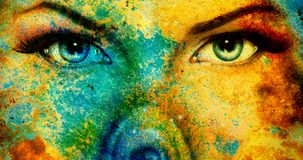 Abstract color Backgrounds, and woman eye. painting collage with spots, rust structure. Royalty Free Stock Photo