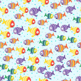 Abstract color cartoon fishes in the sea. Seamless pattern. Vector illustration Stock Illustration