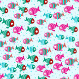 Abstract color cartoon fishes in the sea Royalty Free Stock Photography
