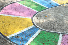 Abstract of color on cement floor Stock Images
