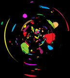 Abstract: Color Chaos. Splashing many different colorful watercolor drops on dark background in spinning motion vector illustration